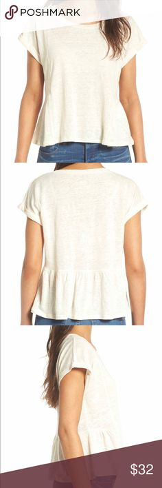 NWT Madewell Short Sleeved Blouse - Size Medium New with tags Antique Cream Madewell Loose fit top. It has cuffed sleeves. 100% linen but feels soft like tee shirt. Size medium. Madewell Tops Tees - Short Sleeve