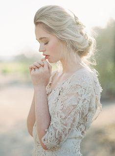 Romantic hairstyle ideas for fine art brides.