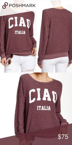 Wildfox • Ciao Italia Sweater Wildfox Ciao Italia Sweater featuring a crew neck, long sleeves, and banded neck, cuffs, and hem. Made of 47% polyester, 47% rayon, 6% spandex. New (without tags) condition. Size XS. Retail $98. Wildfox Sweaters Crew & Scoop Necks