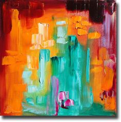 B. Sasik Original Oil Painting vibrant abstract ART Abstract Contemporary Fine Art Modern Palette Knife