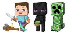 Minecraft Steve, Enderman redone, Creeper redone by cosplayscramble on deviantART