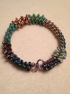 Woven herringbone variation seed bead bracelet by Beth Stone