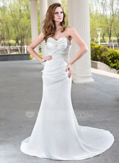 Wedding Dresses - $162.99 - Sheath/Column Sweetheart Court Train Satin Wedding Dress With Ruffle Beadwork (002001175) http://jjshouse.com/Sheath-Column-Sweetheart-Court-Train-Satin-Wedding-Dress-With-Ruffle-Beadwork-002001175-g1175