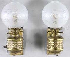 Victorian Brass Wall Lamps with Glass Shades
