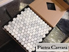Cute for bathroom floors! Pietra Carrara Marble mesh backed mosaic Hexagon Mosaic Tile available online from The Builder Depot. Home Renovation, Home Remodeling, Ella Home, Bathroom Renos, Master Bathroom, Bathroom Ideas, Bath Ideas, Small Bathroom, Bathroom Remodelling