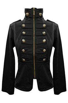 Schwarz Einbau militärischen Stehkragen Jacke hemd bluse-12 Schlagzeuger Zirkus Steampunk