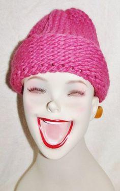 Dark Pink Loom Knitted Beanie Hat | SherryCreates - Accessories on ArtFire $37 with Free Shipping