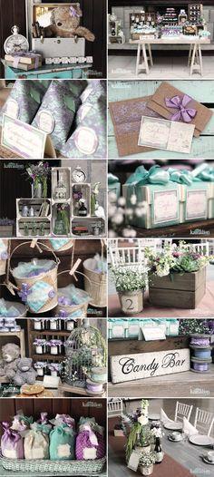 Festa lilás e azul tiffany e marrom vintage