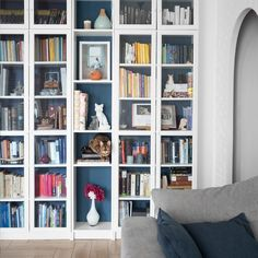 Customizing the IKEA BILLY bookcase: 5 ideas to copy - inspiring, Timeless, inexpensive and truly versatile, the famous BILLY IKEA bookcase turns Discover 5 original IKEA Hacks to personalize it with style! Metal Barn Homes, Metal Building Homes, Ikea Billy Bookcase, Bookcase Shelves, Libreria Billy Ikea, Billy Ikea Hack, Barndominium Floor Plans, Home Design Living Room, My Ideal Home
