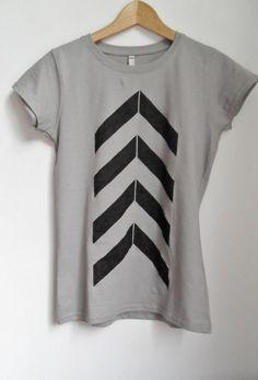 Hand stenciled chevron/arrow design on grey cotton by MTwear, £15.00