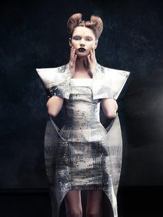 Sculptural Fashion - experimental dress design with sharp, structured 3D construction - shape, volume, silhouette // Alla Polozenko