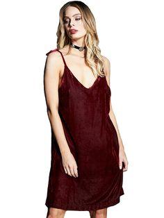 330f17232d7bc Gypsy05 Womens Easy Velvet Slip Dress W/ Tiable Straps L Kata Red ***