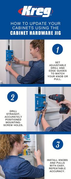 Whether you're updating your cabinets or building a project from scratch, the Kreg Cabinet Hardware Jig makes it easy to install new knobs and pulls easily and consistently every time.