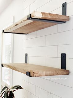 diy bathroom step by step guide on how to make open shelving from someone who creates shelf brackets, this easy DIY wood shelf tutorial provides useful tips and sources Metal Shelf Brackets, Metal Shelves, Open Shelving, Shelving Ideas, Metal Floating Shelves, Wall Shelving, Shelf Ideas, Decorative Shelf Brackets, Pantry Shelving