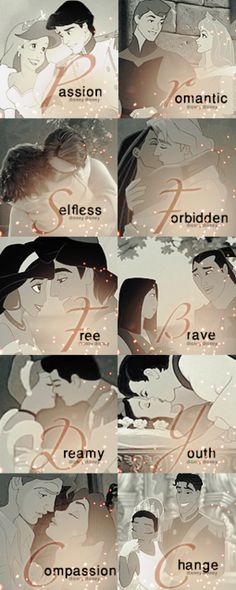 """Disney Love ♥ (Favorite is Pocahontas and suddenly """"Forbidden"""" makes me understand why that is the best Disney kiss EVER.)"""
