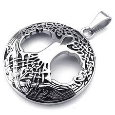 "KONOV Mens Womens Celtic Tree of Life Stainless Steel Pendant Necklace, Silver, 24"" inch Chain. Including one velvet bag printed brand name ""KONOV"" on it. Material: Stainless-Steel. Color: Silver. Pendant Height: 1.5""(3.8cm) Width: 1.3""(3.3cm). Chain Width 3mm; Chain Length: 24""."