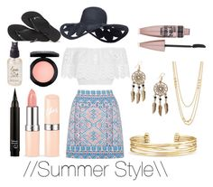 """Summer Style"" by zoeeleary ❤ liked on Polyvore featuring Oasis, Miguelina, Boohoo, Gorjana, Stella & Dot, Maybelline, MAC Cosmetics, Havaianas, Olivine and Summer"