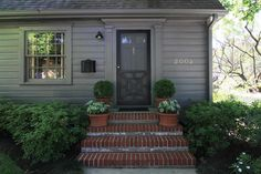 Black-painted screen door, pretty potted boxwoods, caladiums