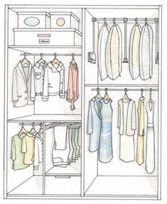 Armario: Ordena mejor y duplica el espacio · ElMueble.com · Dormitorios abrigos y vestidos largos necesitan 170cm y en la parte inferior cajas. pantalonero: 40x60x70 caben 11