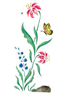Quickly and easily create a whimsical, floral design in any room with our Flower Patch B Border Painting Stencil!