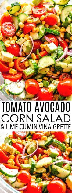 Tomato Avocado Corn Salad with Lime-Cumin Vinaigrette - Simple, delicious, and r. - Tomato Avocado Corn Salad with Lime-Cumin Vinaigrette – Simple, delicious, and refreshing summer - Avocado Salad Recipes, Easy Salads, Healthy Salad Recipes, Summer Salads, Simple Salad Recipes, Avocado Dishes, Avocado Dessert, Corn Tomato Salad, Corn Salads