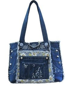 We provide you with a FULL SIZE PATTERN as well as 6 pages of extensive instructions with diagrams for constructing this purse. Approximate dimensions are 17 inches wide and 15 inches tall. Hippie Chic Outfits, Blue Jean Purses, Denim Crafts, Old Jeans, Purse Patterns, Fabric Bags, Balenciaga City Bag, Tote Purse, Purses And Bags