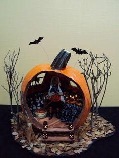 Halloween pumpkin diorama.