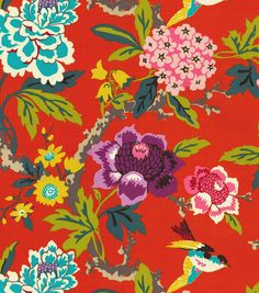Home Decor Print Fabric- Waverly Candid Moment Cinnabar