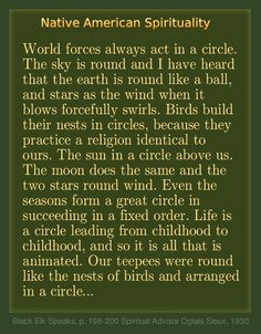 Circles -  Native American Spirituality. \\: : : : :// designer's note: I created the artwork of these timeless words of wisdom from an original, and hope that readers will seek and find the complete speech, which offers infinitely more wisdom and insight into the brilliant minds of Native People's spiritual leaders.