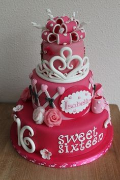 Add to list of possible cake designs: Cute sweet sixteen cake. Pretty Cakes, Cute Cakes, Beautiful Cakes, Amazing Cakes, Crazy Cakes, Fancy Cakes, Sweet Sixteen Cakes, Sweet 16 Cakes, Sweet 16 Birthday Cake