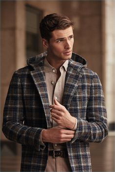 Fall combo inspiration with a brown navy plaid coat taupe button up shirt brown leather belt khaki trousers Edward Wilding, Revival Clothing, Herren Outfit, Plaid Coat, Leather Men, Brown Leather, Leather Jackets, Mens Fashion, Fashion Suits