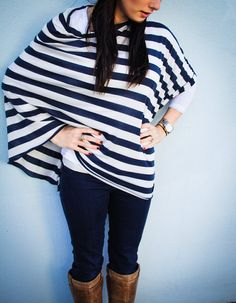 Nautical Nursing Scarf Poncho /Jersey Knit Nursing Cover for Full Coverage in Public // Navy and White Stripe on Etsy, $38.00