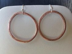 brushed copper hoop earrings with sterling silver by MiiMyxJewelry, $18.00