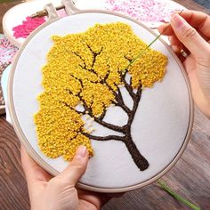 DIY Embroidery Plants Cherry Tree Handwork Needlework for Beginner Cross Stitch kit Ribbon Painting Embroidery Hoop Home Decor - Aliexpress Creative Embroidery, Simple Embroidery, Modern Embroidery, Embroidery Hoop Art, Cross Stitch Embroidery, Japanese Embroidery, Basic Embroidery Stitches, Embroidery Materials, Hungarian Embroidery