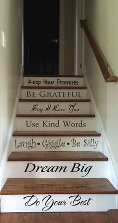 The Best 24 Painted Stairs Ideas for Your New Home Stair Words: Vinyl decor for your stair risers. Quicker, and easier than painting/stenciling.Stair Words: Vinyl decor for your stair risers. Quicker, and easier than painting/stenciling. House Staircase, Staircase Decals, Luxury Staircase, Stairway Walls, Stair Makeover, Basement Makeover, Stair Steps, Stair Treads, Vinyl Decor