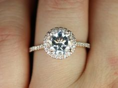 NEW Sweetheart Size Kubian Version 2013 14kt Rose Gold Round White Topaz Halo Engagement Ring (Other metals and stone options available) $1070