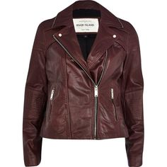 dd4762ae3c631 River Island Dark red zip trim leather biker jacket (135 CAD) ❤ liked on