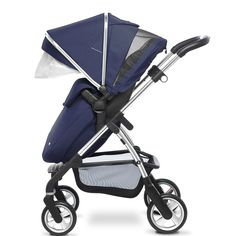 The new Vintage Blue Wayfarer pram system from Silver Cross, shown here in pushchair mode.