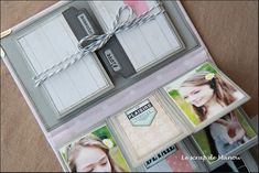 2 accordion-style placed inside the front album cover, tied with string (video on the blog)