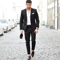 2017 New Men Suits Slim Custom Fit Tuxedo Black Navy Blue Fashion Business Dress Wedding Suits Blazer Two Pieces Mode Masculine, Mens Fashion Suits, Mens Suits, Fashion Menswear, Mode Man, Black Suit Men, Black Pants, Wedding Suits, Dress Wedding