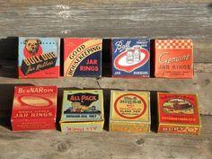 Vintage fruit jar rubber gaskets boxes, vintage graphics, vintage packaging, vintage typography.
