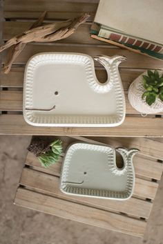S/2 Ceramic Whale Platter | Coastal Farmhouse