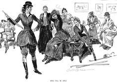 by Charles Dana Gibson. Girls will be girls. ...wearing jodhpurs!'Gibson Girls were athletic and had freedoms.