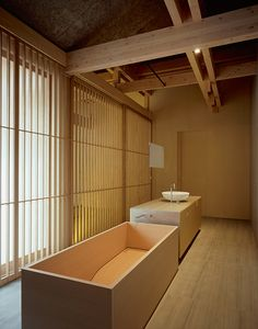 Browsing the Agape Portfolio. Hotel Ginzan Onsen Fujiya and Woodline bathtub, Insegna mirror, Spoon XL washbasin - Yamagata, Japan Architecture / Interiors: Kengo Kuma / Ph. Deep Soaking Tub, Soaking Tubs, Japanese Bathroom, Shower Seat, Spa Rooms, Bathroom Photos, Container House Design, Japanese Interior, Yamagata