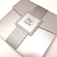 Silver Wedding Invitation, Silver and Bling Pocketfold Invitation, Silver Glitter Wedding Invitation by Lovelytations on Etsy https://www.etsy.com/listing/210903262/silver-wedding-invitation-silver-and More
