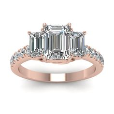 2 Carat  3 Stone Emerald Cut Trellis Engagement Ring with Diamonds in 18K Rose Gold exclusively styled by Fascinating Diamonds