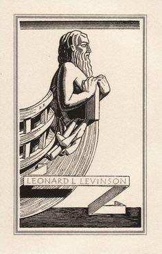 Bookplate for Bernard L. Levenson designed by Rockwell Kent
