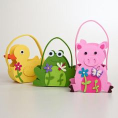 One of my favorite discoveries at WorldMarket.com: Large Felt Frog, Pig and Duck Containers, Set of 3: