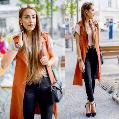 Get this look: http://lb.nu/look/8225565  More looks by Markéta Bártová: http://lb.nu/marketabartova  Items in this look:  Bershka Terracotta Waiscoat, Forever 21 Black Skinny Jeans, Forever 21 Beige Blouse, Stradivarius Balck High Heels, Firmoo Gold Mirror Suglasses   #chic #elegant #street