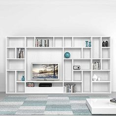 Italian designer modern TV stand with library zone Polar by Mobilstella. L 333.2 - H 182.1 - W 35 cm